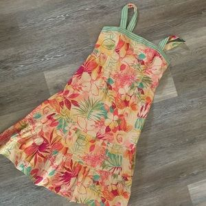 Hawaiian Midi Ruffle Dress